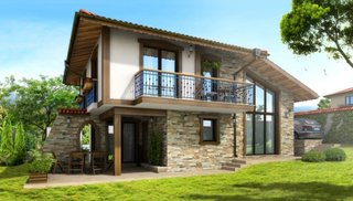 Casa mica cu mansarda si balcon
