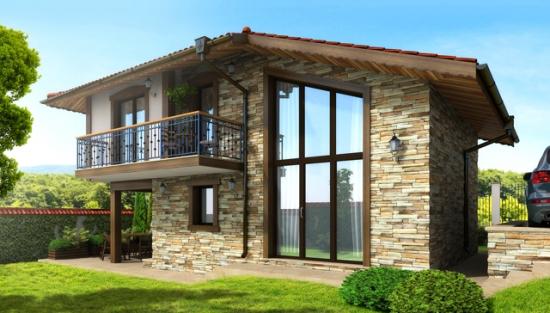 Casa mica placata cu piatra la exterior