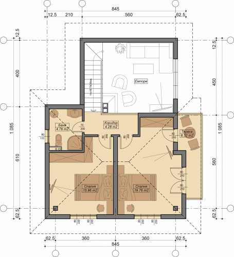 Plan etaj mansardat cu doua dormitoare