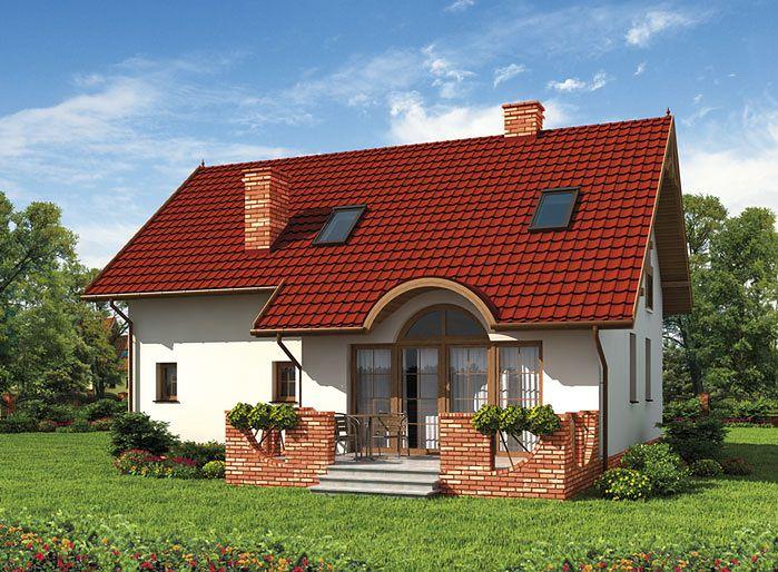 Casa cu parter si veranda din caramida rosie