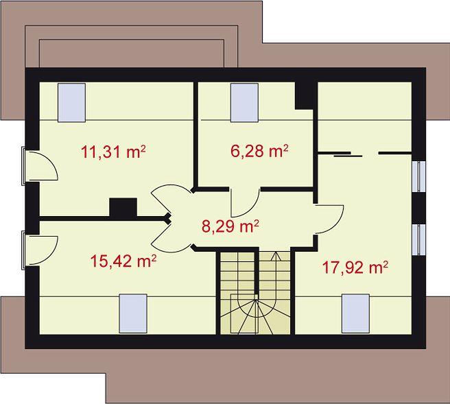 Plan casa cu 3 dormitoare la mansarda