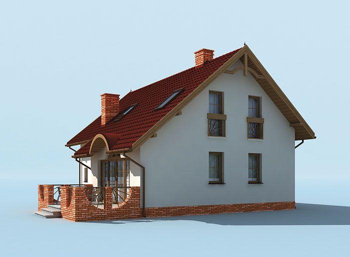 Vedere laterala casa cu parter si veranda din caramida