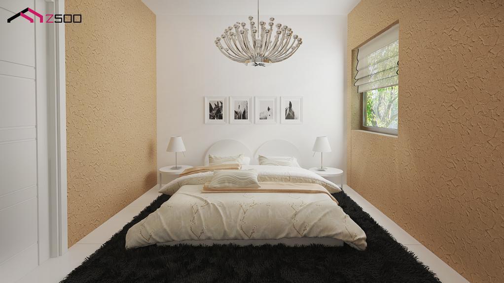 Dormitor mic amenajat cu pat pe mijloc