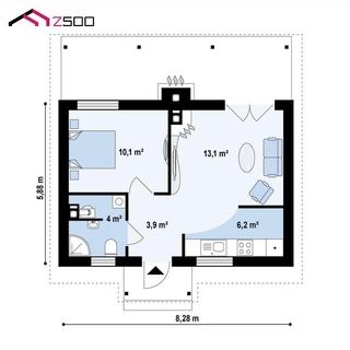 Plan casa de vacanta living bucatarie si dormitor