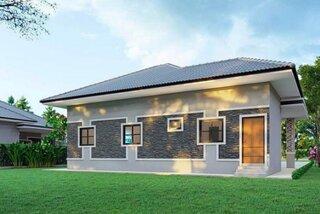 Casa doar cu parter placata cu piatra gri