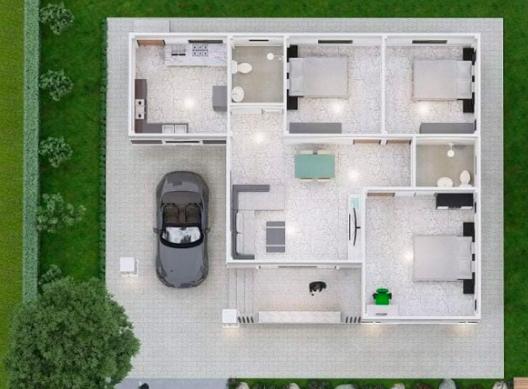 Plan casa parter cu 3 dormitoare 2 bai living si garaj