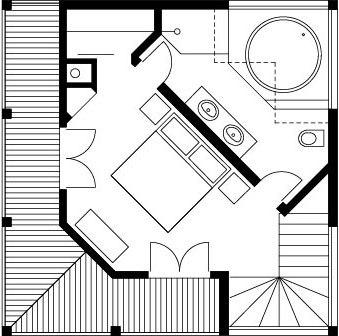 Schita etaj cu dormitor si baie cu cada pe colt