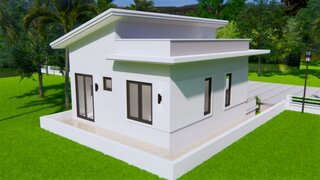 Casa mica cu terasa pe acoperis