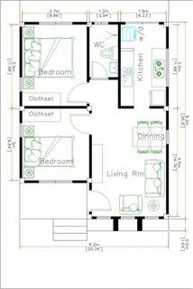 Plan casa mica cu amprenta de 6 pe 8 metri