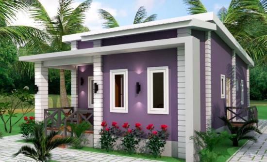Un Proiect De Casa mititica cu 3 dormitoare si fatada violet - Iti place?