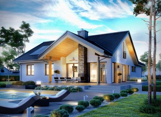 Un proiect de casa moderna cu 3 dormitoare la parter si o mansarda superba open space