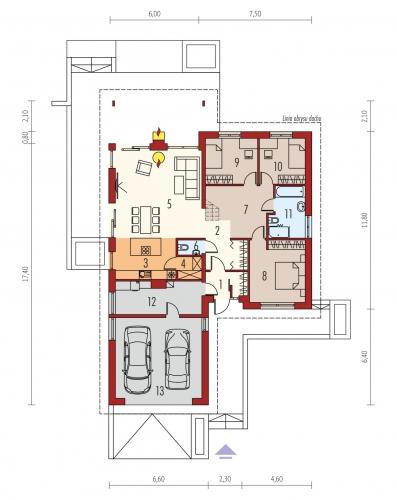 Plan parter casa cu mansarda cu 3 dormitoare la parter