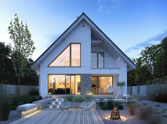 Casa moderna cu 4 camere si acoperis in doua ape