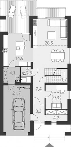 Model de casa lunga si ingusta dispunere camere la parter