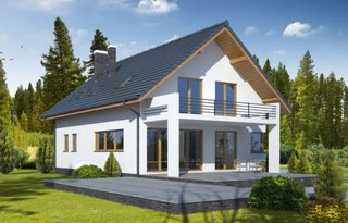 Casa moderna cu 2 balcoane