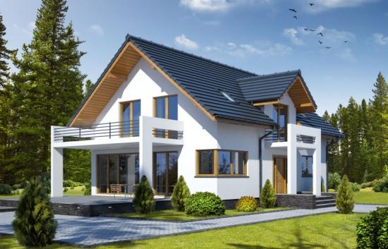 Proiect de casa moderna cu 6 camere si dependinte
