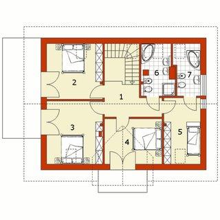 Plan mansarda casa cu 5 dormitoare