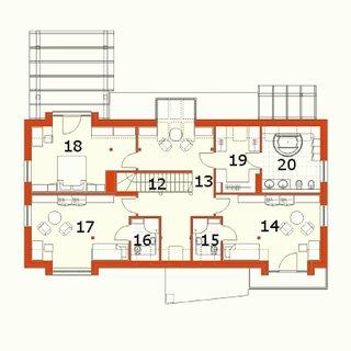 Plan etaj casa moderna cu 4 dormitoare