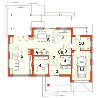 Plan parter casa cu etaj moderna