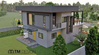 Casa cu etaj si acoperis aparent plat