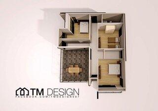 Plan etaj cu 3 dormitoare si un spatiu polivalent