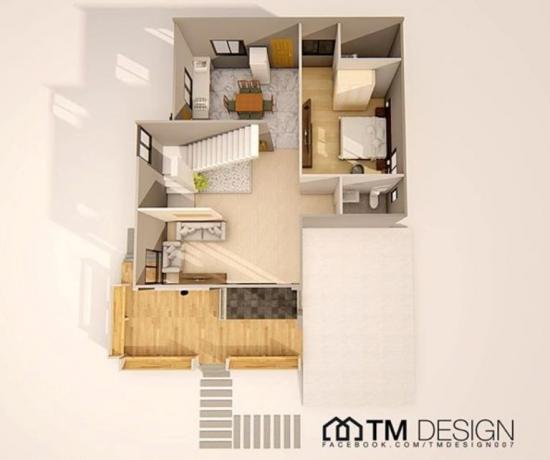Plan parter casa cu etaj - are 1 dormitor