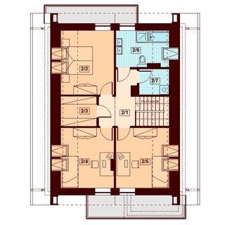 Plan mansarda casa cu 2 balcoane