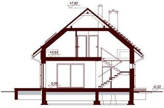 Plan vertical casa cu 2 balcoane