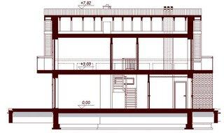 Plan vertical casa cu garaj si mansarda