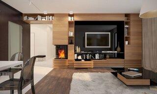 Living modern cu decor maro