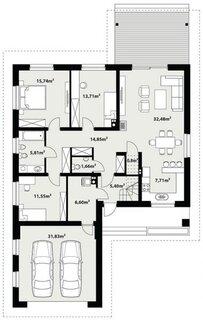 Plan parter casa moderna cu garaj dublu