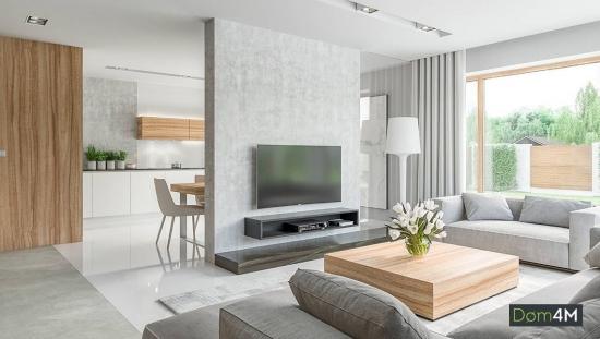 Living elegant cu decor alb-gri