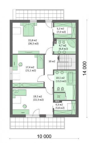 Plan mansarda casa moderna cu 4 dormitoare