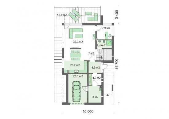 Plan parter casa moderna