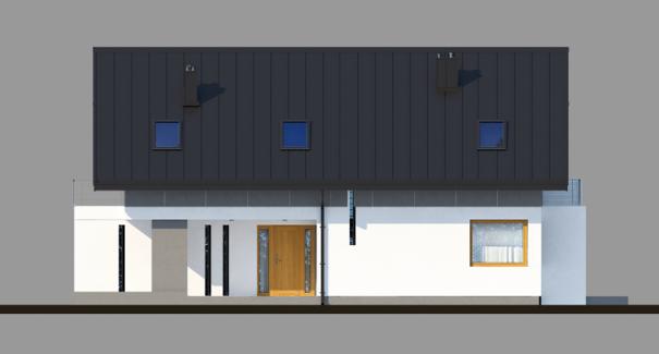 Vedere dreapta casa moderna cu mansarda