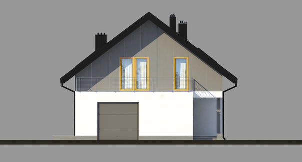 Vedere fata casa moderna cu mansarda