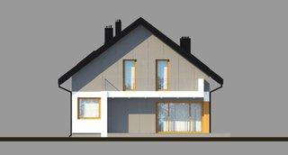 Vedere spate casa moderna cu mansarda