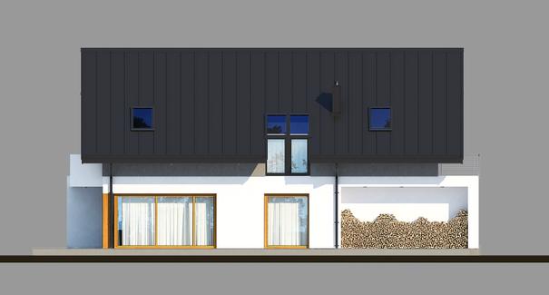 Vedere stanga casa moderna cu mansarda