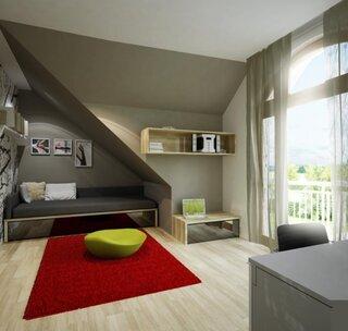 Dormitor mic de 1 persoana amenajat la mansarda nuante gri