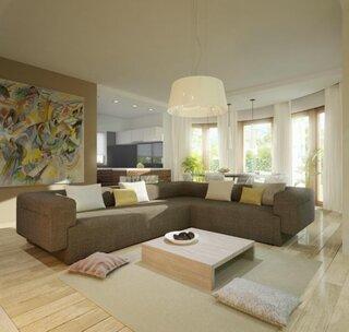 Idee amenajare living cu dining open space in culori neutre si accente galbene