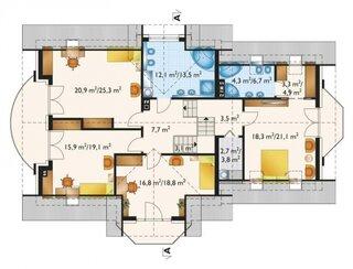 Plan etaj mansardat cu 4 dormitoare
