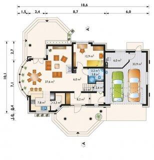 Plan parter cu dormitor si garaj dublu
