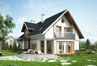Proiect casa cu mansarda si garaj suprafata 187 mp
