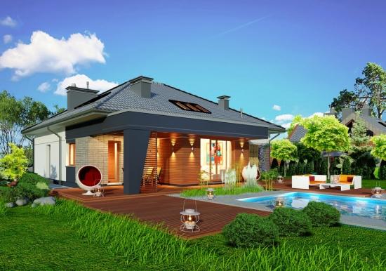 Casa cu mansarda si terasa mare de lemn for Casa moderna romania