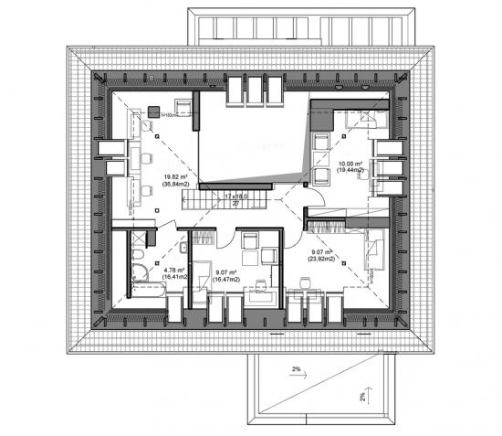 etaj de 56 mp cu 3 dormitoare