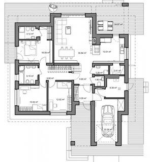 Plan parter 145 mp cu 3 dormitoare