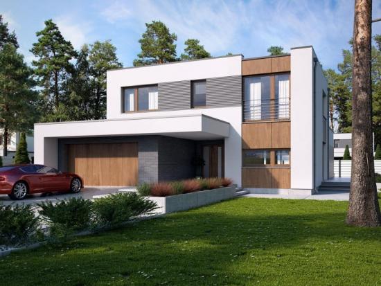 Casa moderna cu terasa la etaj