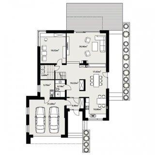 Plan parter casa moderna P+1