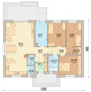 Plan casa 106 mp cu 3 dormitoare