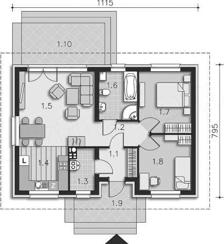 Proiect casa fara etaj 2 dormitoare